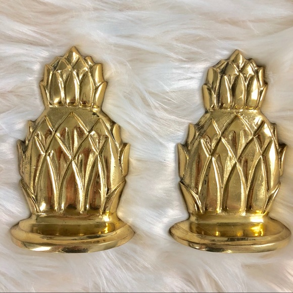 Accessories - Vintage Palm Beach HEAVY pineapple book ends